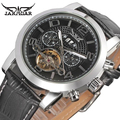 Fashion JARAGAR Men Luxury Brand Watch Tourbillion Automatic Mechanical Leather Strap Wristwatches Gift Box Relogio Releges