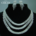 Elegant Rhinestone Rhodium Women Bridal Accessories Party Gifts Promotion Fashion Crystal Necklace Earrings Wedding Jewelry Sets