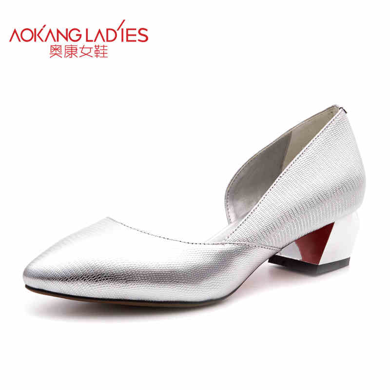 Фотография AOKANG 2016Spring New Arrival High Heels Ladies Shoes Full-grain Leather Shoes women shoes