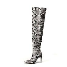 KARINLUNA Slouch uyluk yüksek çizme yılan derisi diz çizmeler üzerinde bayan seksi süper yüksek ince topuk pilili sivri burun ayakkabı kadın(China)