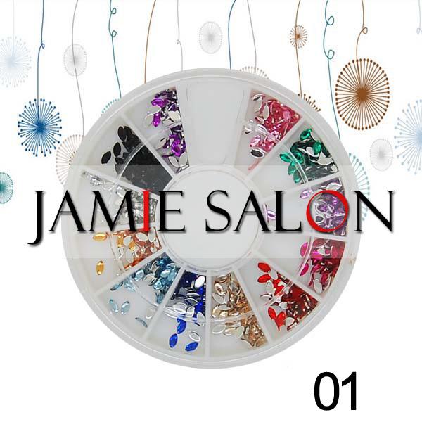 Nail Art Acrylic Rhinestones Horse Eye Glitter Gems Decoration Wheel Set Size:2*4mm #01