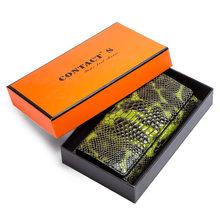 Marca de luxo mulheres carteiras embreagem couro genuíno cobra padrão impressão longo moeda bolsa titular do telefone celular feminino saco dólar preço(China)
