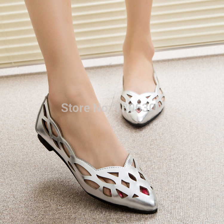 Ladies Silver Flat Shoes