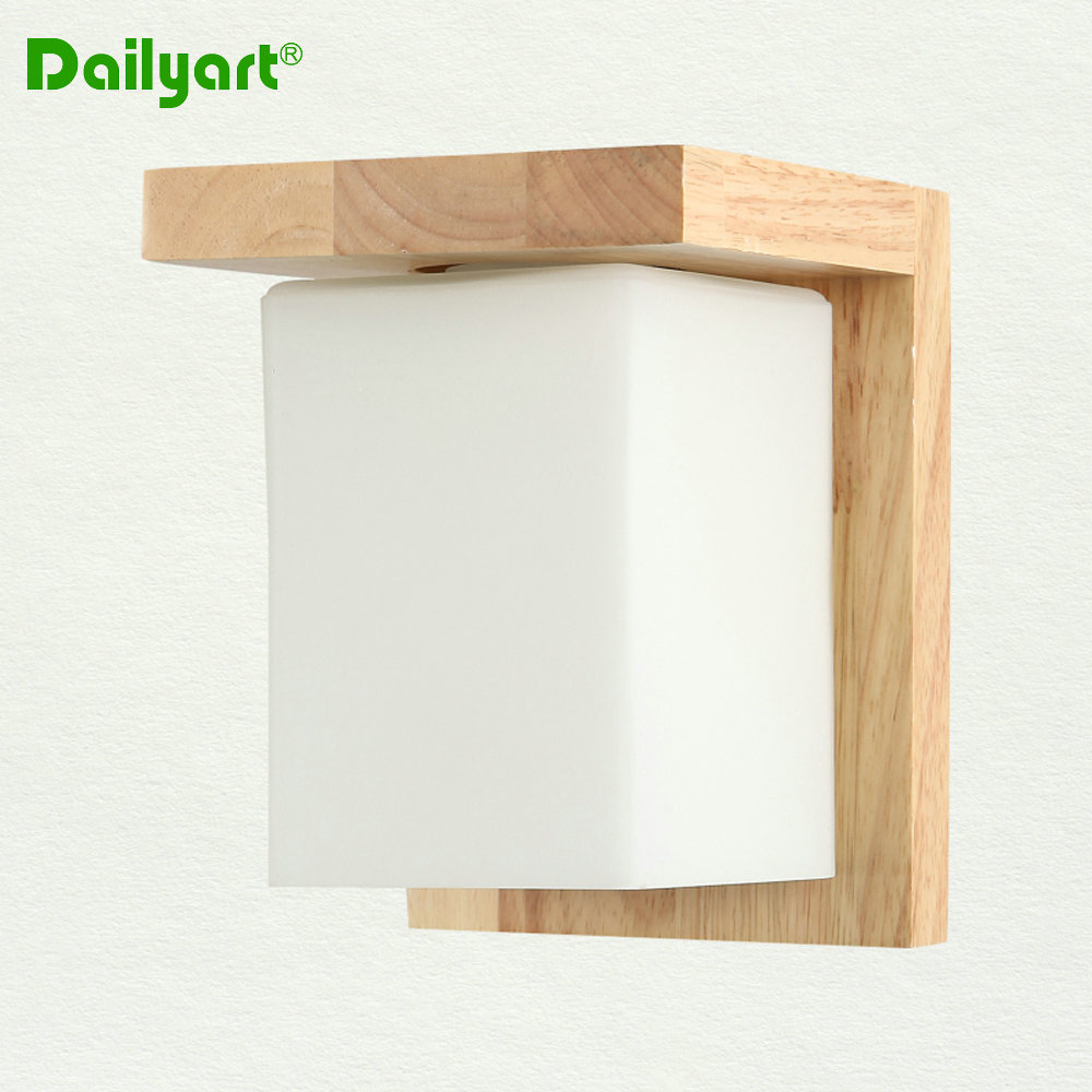 Cheap Nordic modern wooden acrylic wall light cube/ square shaped wall sconce for living room ...