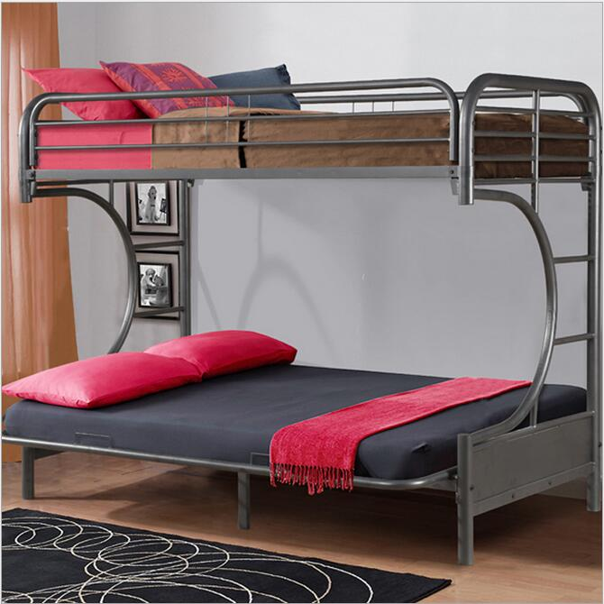 Bunk bed for kids double steel black bed children - Literas con sofa cama debajo ...