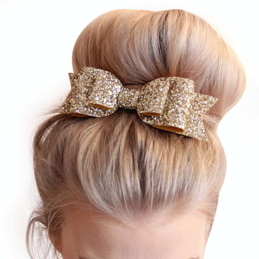 D6li Baby Girl Kids Sequin Bowknot Bow Hair Clip Sweet Glitter Hair Bow Clips Sequin Europe Baby Headdress Accessories March1 RV(China (Mainland))
