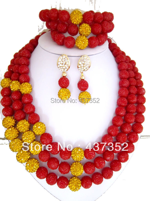 African Nigerian Wedding Jewelry Set Artificial Carved Flower Coral Beads Jewelry Set Necklace Bracelet Clip Earrings CWS-075<br><br>Aliexpress