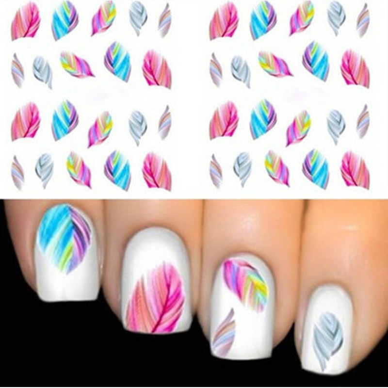 1pcs Feather Nail Art Decorations Water Transfer Decal Nail Stickers For Nails Manicure Stickers Water Rainbow Bright Color(China (Mainland))