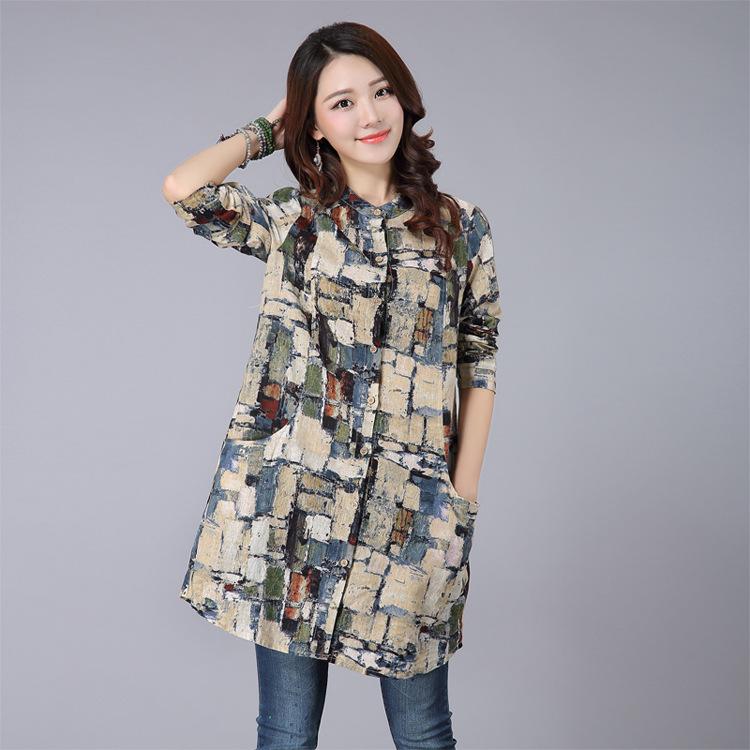 Ethnic Woman Blouses Autumn 2017 Vintage Plaid Blusas Femininas Casual Ladies Tops Long Sleeve Shirt Plus Size Women Clothing