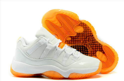 2015 Cheap China Jordan sneakers shoes White Orange Citrus 11s Low Mens & Womens Basketball Shoes For Sale big Euro36-48(China (Mainland))