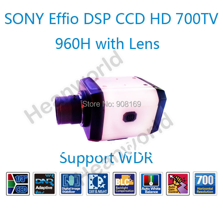 High Resolution SONY Effio DSP CCD HD 700TV CCTV Box camera HD Sony CCD Bullet Camera 960H system security with WDR(with lens)<br><br>Aliexpress