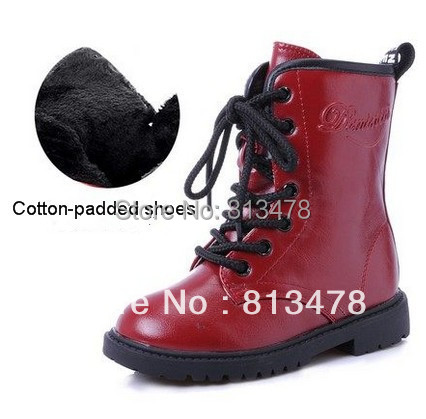children boots boy's girl's child medium-leg snow fashion kids martin winter cotton-padded shoes - wendy hou's store
