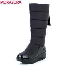 MORAZORA Más El tamaño 35-44 nuevas botas de nieve botas de piel gruesa super caliente media pantorrilla mujeres botas media rodilla botas de invierno botas de plataforma zapatos(China (Mainland))