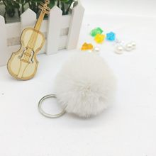 Sleutelhanger 6 cm Artesanal Fofo Pom Pom Keychain Para O Saco Mulheres Faux Pele De Coelho Pompom Chaveiro Chaveiro Chaveiros Llavero(China)