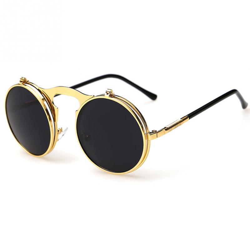 2017 New Vintage Steampunk Sunglasses round Designer steam punk Metal OCULOS de sol women Sunglass Men Retro CIRCLE SUN GLASSES
