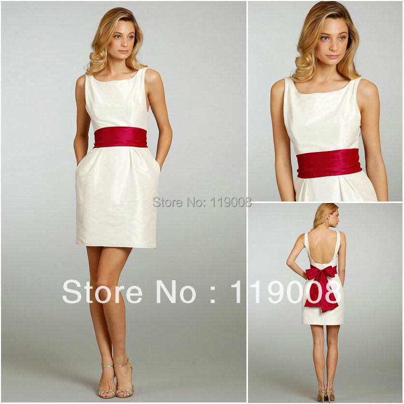 White Taffeta Wedding Guest Party Dress Knee Length Women New Bridesmaid Dres