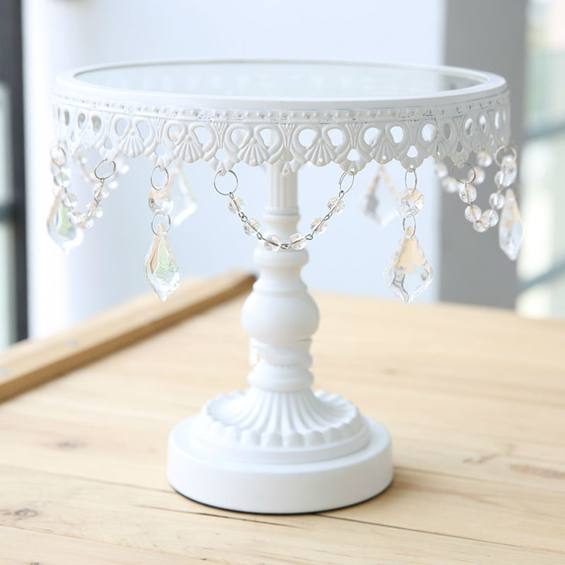 Glass cake stand white iron and glass cake stand wedding for Decoration de stand