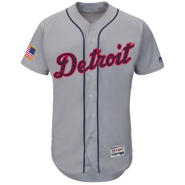 Detroit Tigers MLB Fashion Stars & Stripes Flex Flexbase Authentic Collection Cool Base Jersey - Gray Baseball Jerseys(China (Mainland))