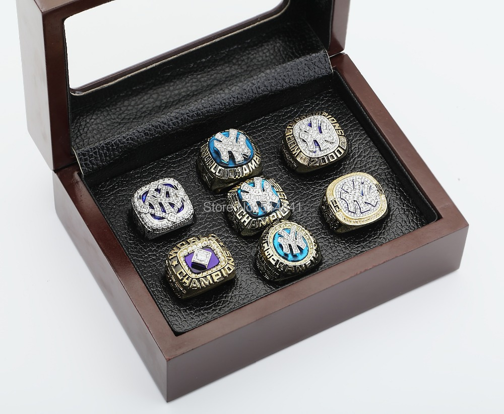SEVEN(7)MLB 1977,1978,1996,1998,1999,2000 AND 2009 NEW YORK YANKEES WORLD SERIES CHAMPIONSHIP REPLICA FAN RINGS FULL SET Collect - arky chen's store
