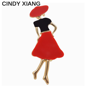 CINDY XIANG Resin Wearing Red Dress Women Brooches Cute Small Elegant Brooch Pin Backpack Coat Badges Bijouterie Jewelry Hot