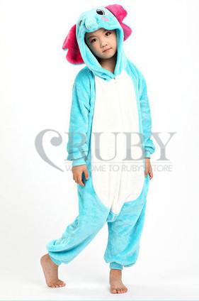 Fashion Christmas Kids Costumes Pajamas One Pyjama Animal suits Cosplay Children Flannel Blue Elephant Cartoon Onesies - RUBY TOP 2 store