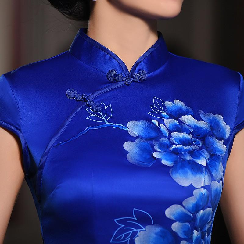 มาใหม่แฟชั่นแผนจีนชุดผู้หญิงผ้าไหมCheongsam QipaoมินิVestidoเดเฟสต้าขนาดSml XL XXL Z20160316 ถูก