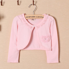 Azel Princess wear children pearl button girls cardigan sweater knitted long sleeve lace coat kids clothing 2016