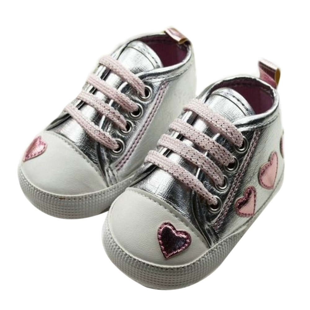 Silver pink Love First Walkers Style Soft Baby Shoes Cute