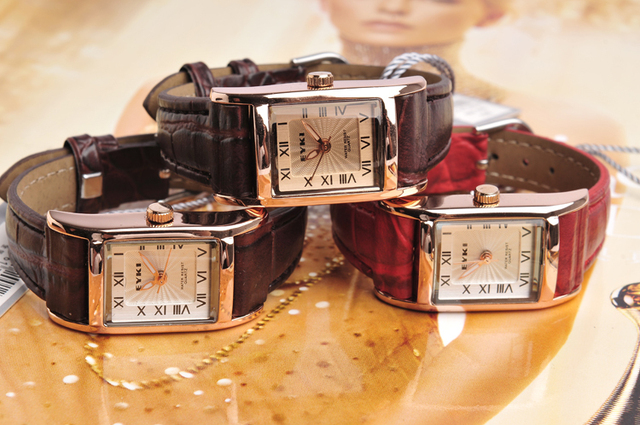 Ladies Luxury dress wristwatch Crystal Bracelet Watch square dial with roman number genuine leather strap xmas gift