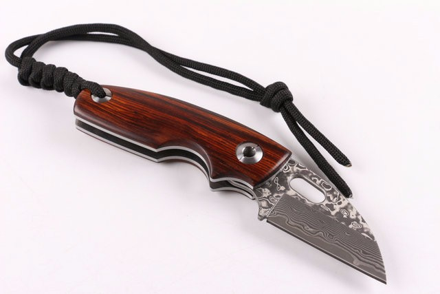 Buy SHANGXIN FEN Damascus Knife Hunting Knife Survival Knives Wood Handle Hardness 60HRC cheap