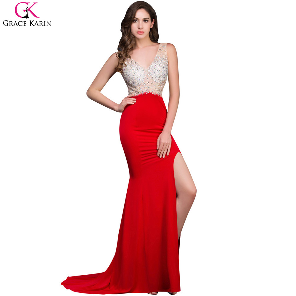 Grace Karin Beaded Sequin Long Red Mermaid Backless