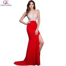 Grace Karin Beaded Sequin Long Red Mermaid Backless Sleeveless High Slit Sexy Deep V Neck Split  Formal Dress Prom Dresses 8914(China (Mainland))
