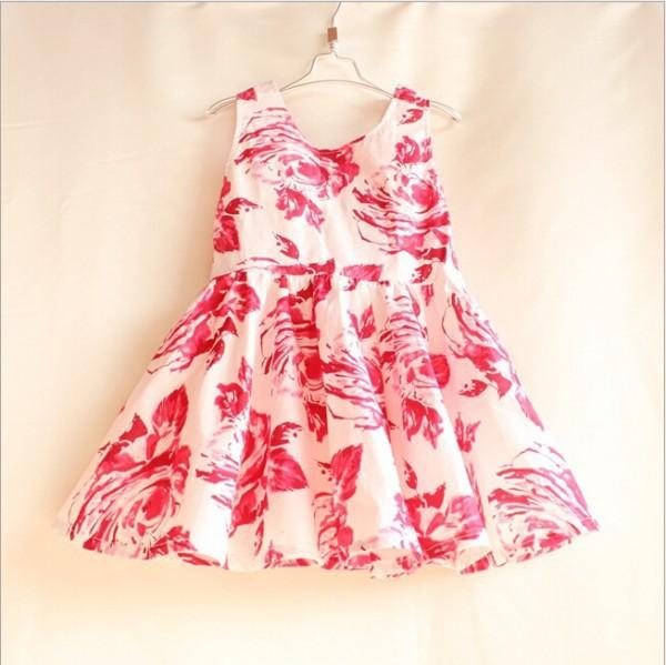 Retail Baby girl dress kids summer bowknot dress children Red flower print dress princess girls sleeveless vest dresses QY-052(China (Mainland))