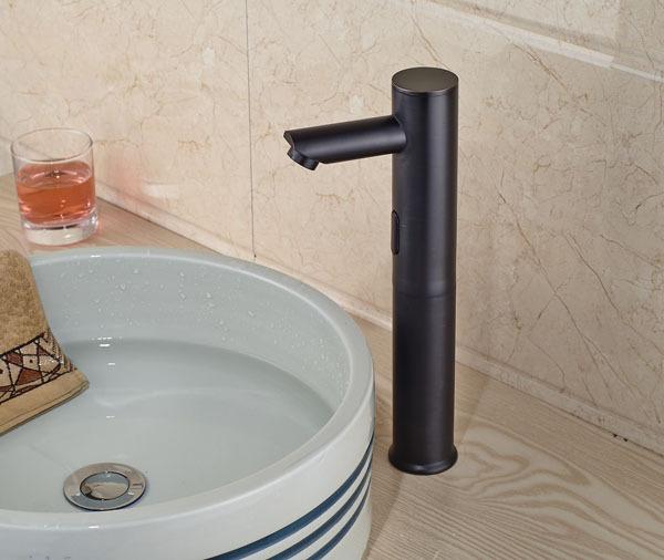 Deck Mount Solid Brass Taller Auto Sensor Bathroom Sink Faucet With Automatic Sensor Bath Tub