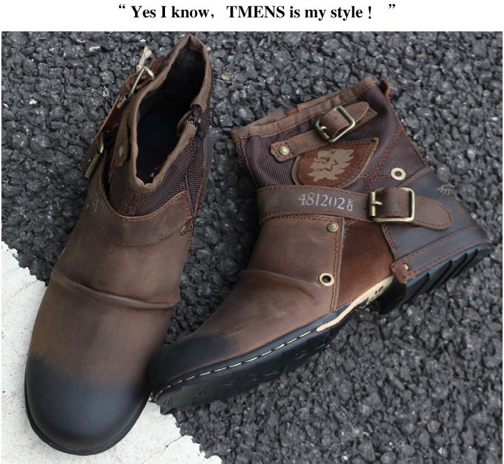 Hot! 100% Original Brand LOGO Restoring Ancient Italy Cowide GENUINE LEATHER Men's Cowboy Boots, Man Motorcycle Designer Shoes - Kuta Co., Ltd. store