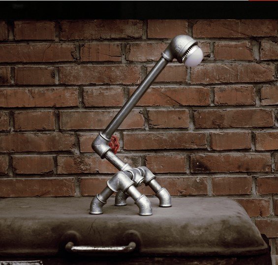 Table Lamps Vintage Loft Table Light Industrial Style Water Pipe LED Table Lamps for Bedroom Desk Reading Home Lighting Decor(China (Mainland))