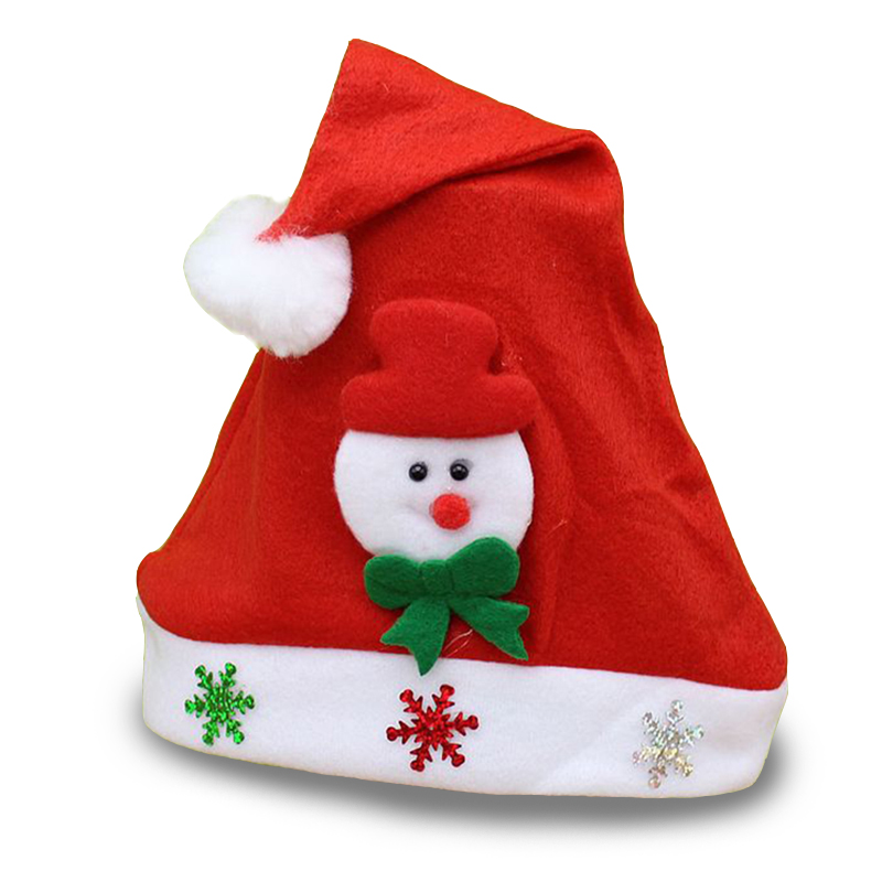 New Big Sale Cartoon Christmas Hat Santa Clause Bear Snowman with White Cap as A Gift for Friends for Kids(China (Mainland))
