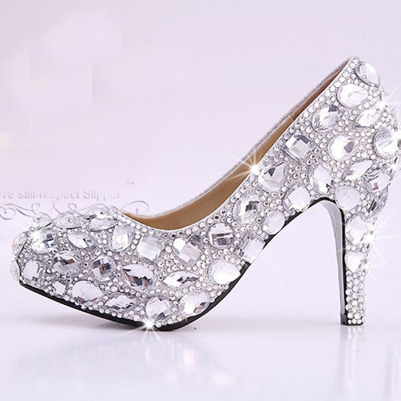 hand design unique sparkling crystal diamond wedding bridal dress shoe