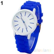 2014 New Fashion Women Hot Geneva Silicone Rubber Jelly Gel Quartz Analog Sports Wrist Watch 15E9