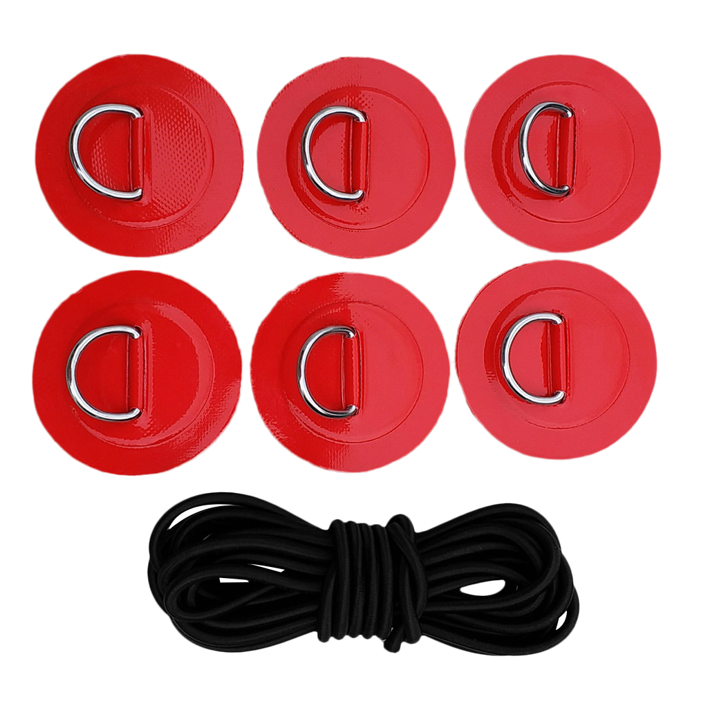 Stand Up Paddleboard SUP Bungee Rope Deck Rigging Kit 6Pcs D-ring Pad Patch Water Sports Rowing Inflatable Boats Surfboard