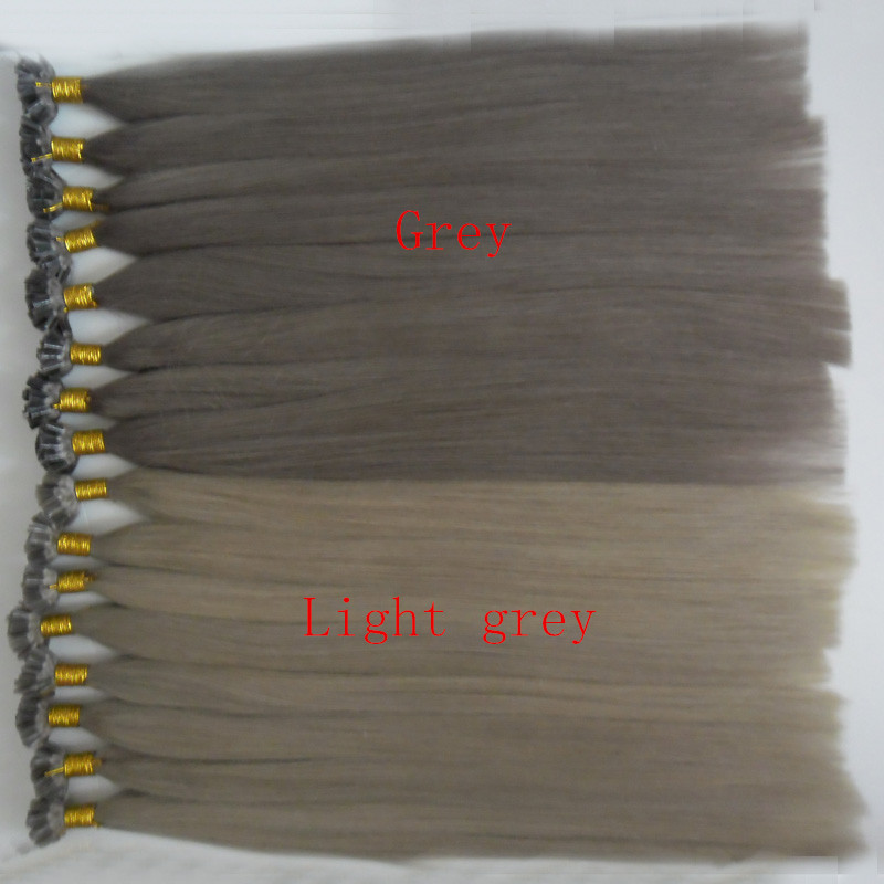 "18""20""22""24""26""28"" Remy Hair Keratin U Nail Tip Straight Light grey,Grey Hair Extensions 100G Pre-Bonded Fusion Hair Extensions"