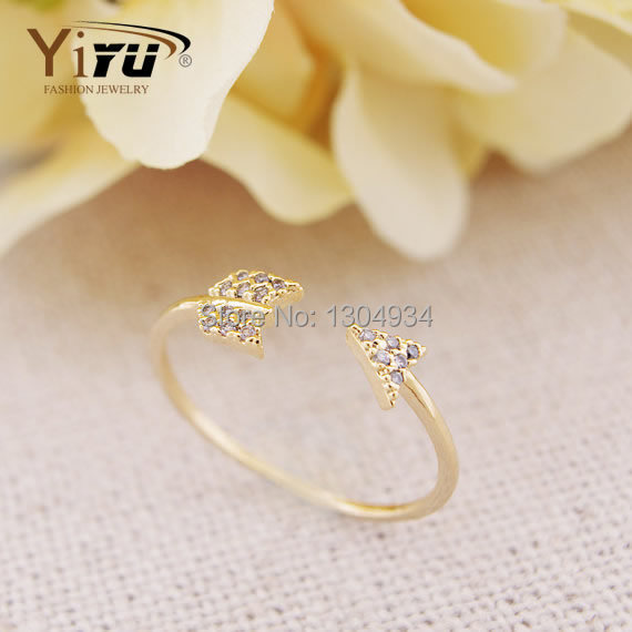 1pc Gold&Pink&Silver Arrow CZ Women Adjustable Ring No Fade Wedding Jewelry Korean Style Finger Simple Cute Girls Ring R102(China (Mainland))