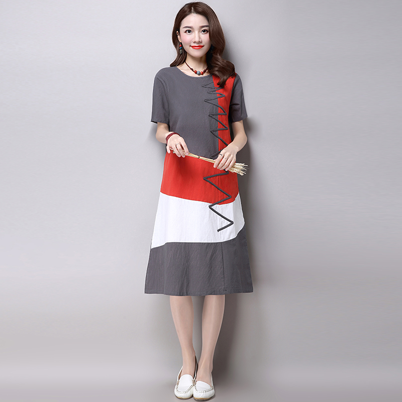 Plus Size Clothing Women Loose Casual Dress New 2016 Fashion Korean Style Patchwork Short Sleeve