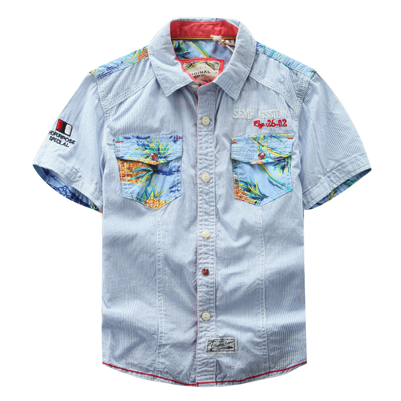hiheart 2015 summer boy shirts kids denim shirts school