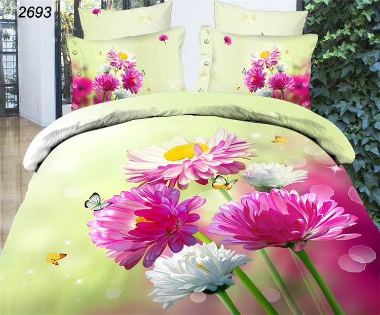 Light yellow flowers and butterflies 3d bedding sets quilt cover bedsheet pillowcases reactive bed linens 3d wedding kit 2693(China (Mainland))