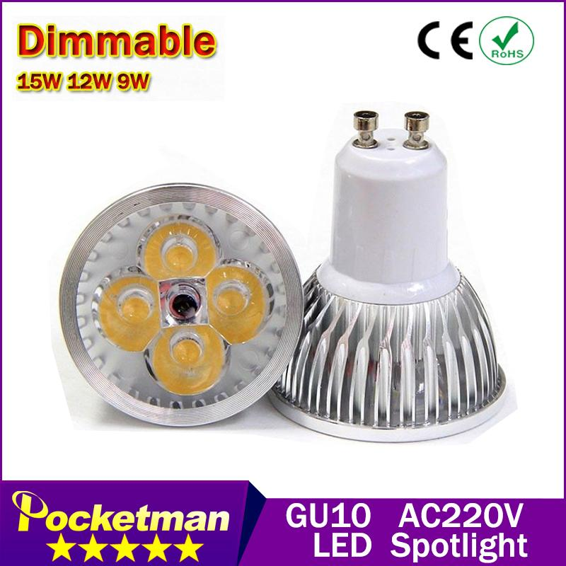 1PcsFree shipping High power CREE Led Lamp Dimmable GU10 9W 12w 15w 85-265V Led spot Light Spotlight led bulb downlight lighting(China (Mainland))