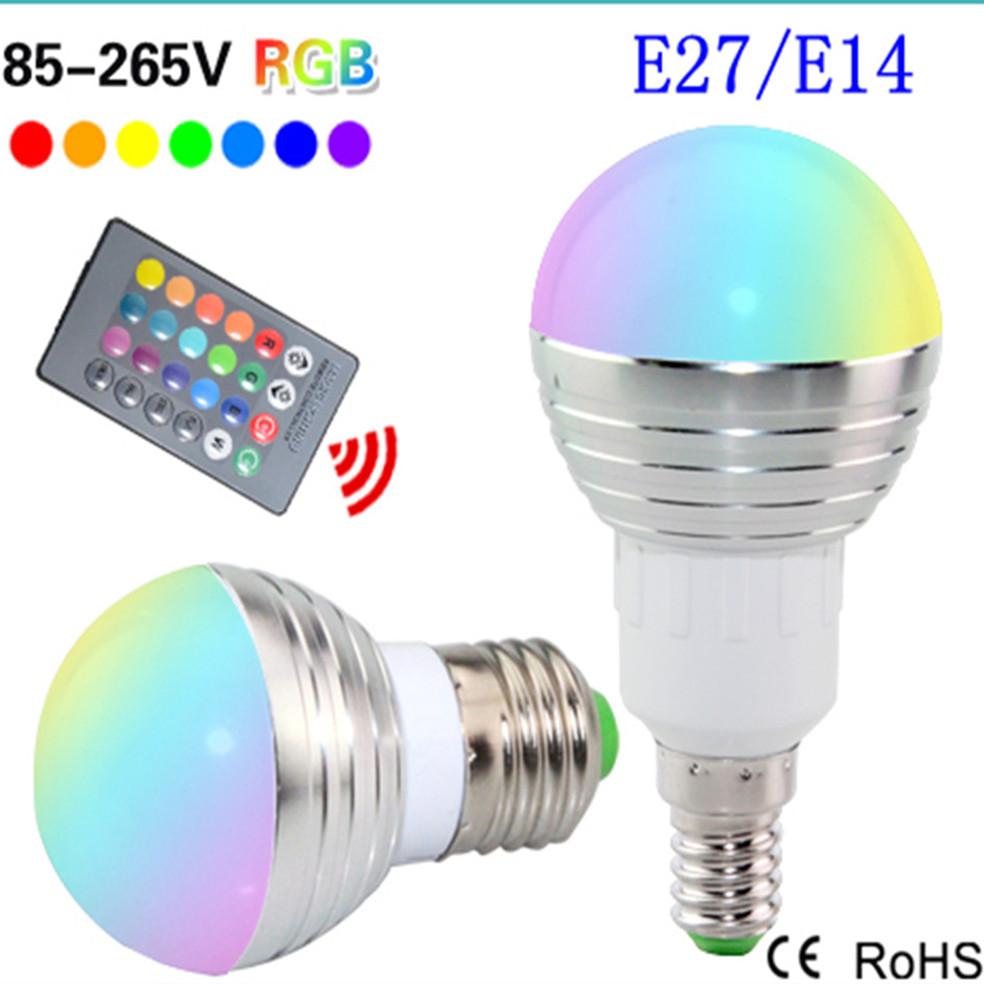 buy dimmable led e27 e14 rgb led bulb 110v 220v rgb light bulbs 3w led light 85. Black Bedroom Furniture Sets. Home Design Ideas