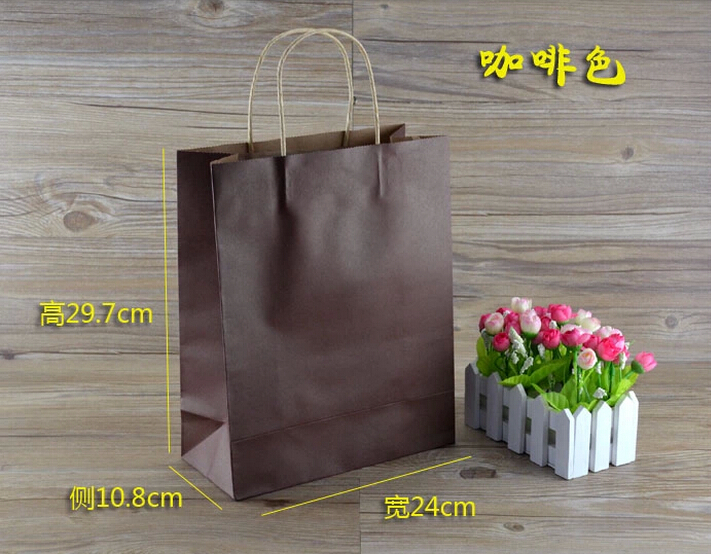 In-stock Item 30PCS/PACK Good Quality Kraft Paper Bag Gift Bag with Handles Free Shipping(China (Mainland))