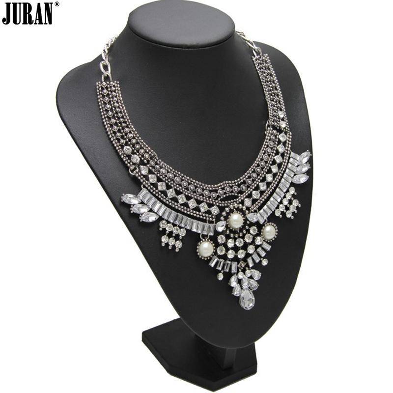 Fashion Statement Jewelry Chain Crystal White Pearl Collar Pendant Bib Necklace