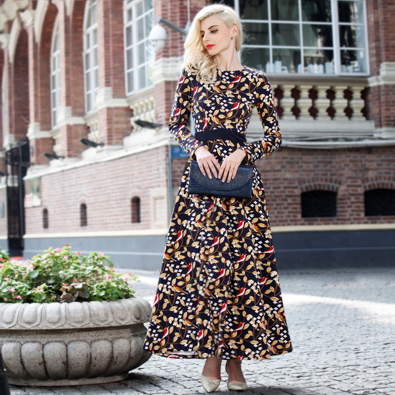 XXXL!Best Grade New Design Fashion 2016 Autumn Winter Long Dress Women Vintage Print Long Sleeve Dress Big Size Clothing Ladies(China (Mainland))